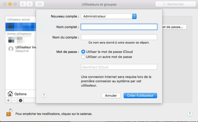 Protéger son mac cession utilisateur