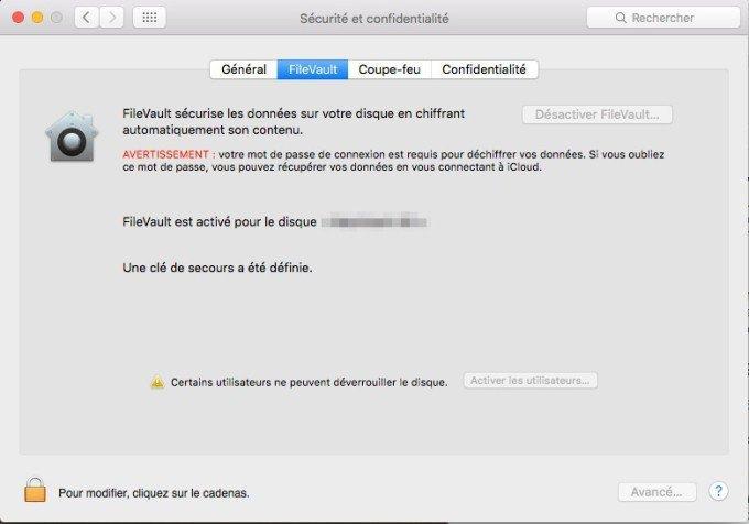 Sécurité sur Mac le Filevault