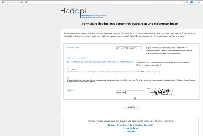 Formulaire Hadopi