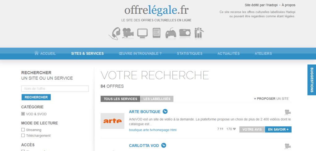 Le site offrelégale.fr