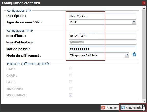 La configuration du client VPN de la Freebox 6