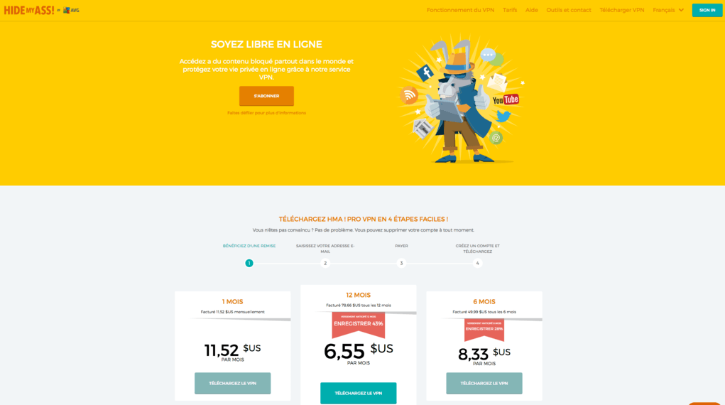 Le site internet de Hidemyass en Francais, cela simplifie le processus d'abonnement