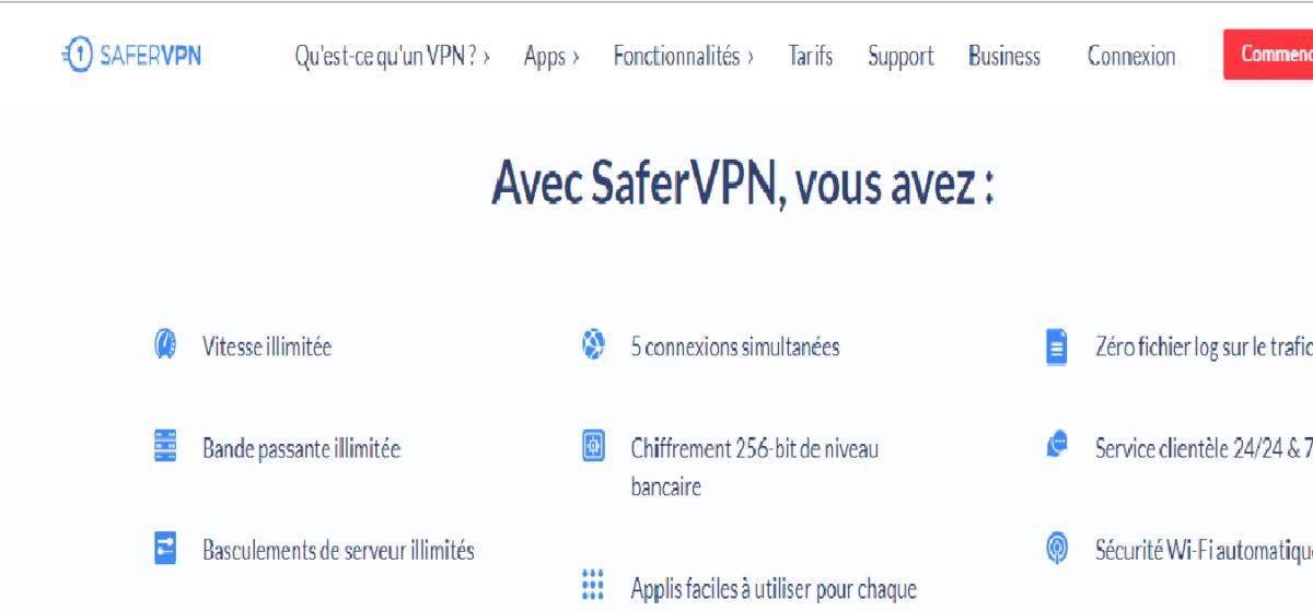 SaferVPN Avis sur le VPN, Test de Vitesse et Fonctionnalités