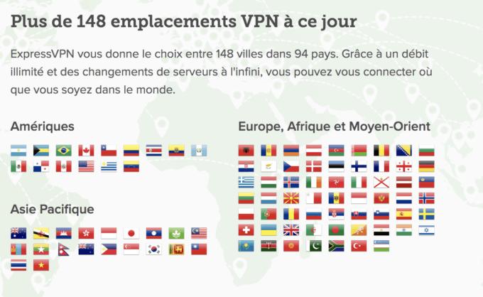 Plus de 148 emplacements VPN à ce jour