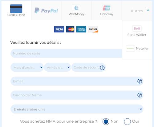 HideMyAss VPN Modes de Paiements