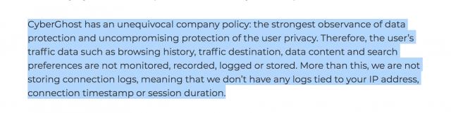 La politique de Cyberghost en matière de Log est transparente