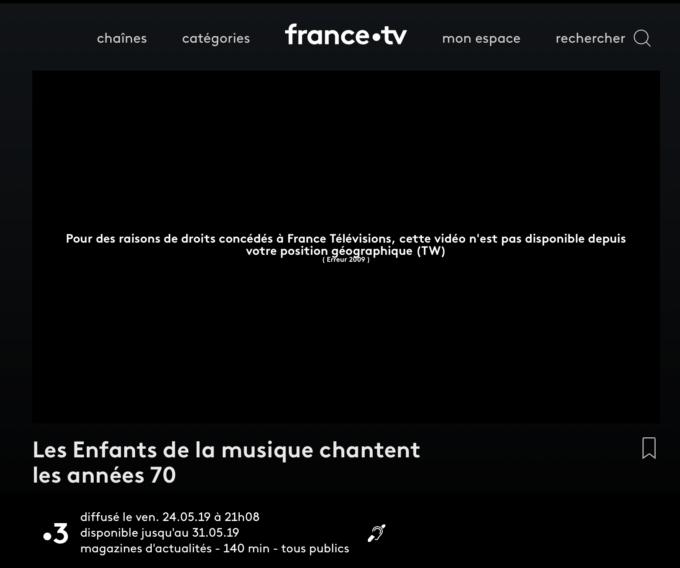 Voici le message qui s'affiche si vous essayez de regarder France TV depuis l'étranger.