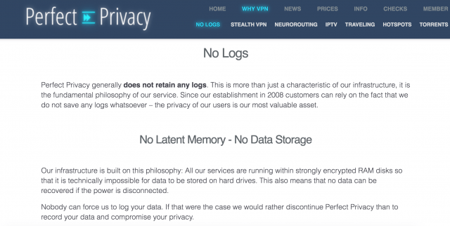 perfect privacy logs