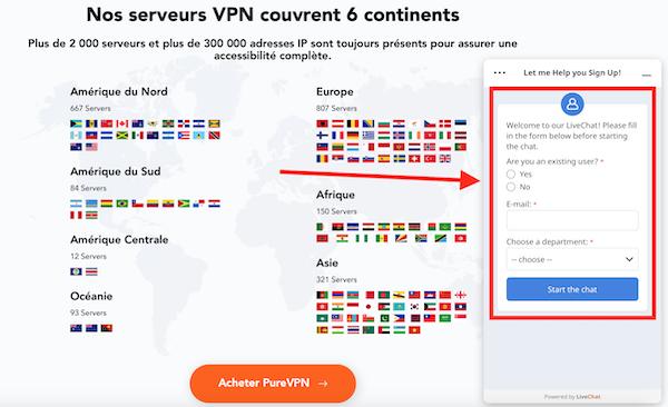 PureVPN live chat