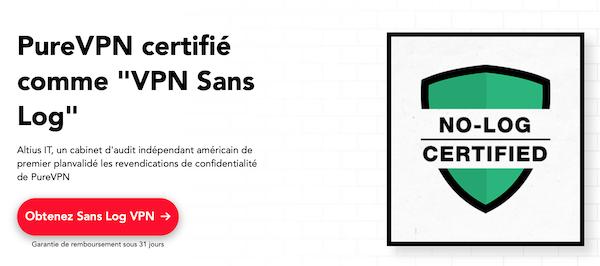 PureVPN VPN sans log certifié