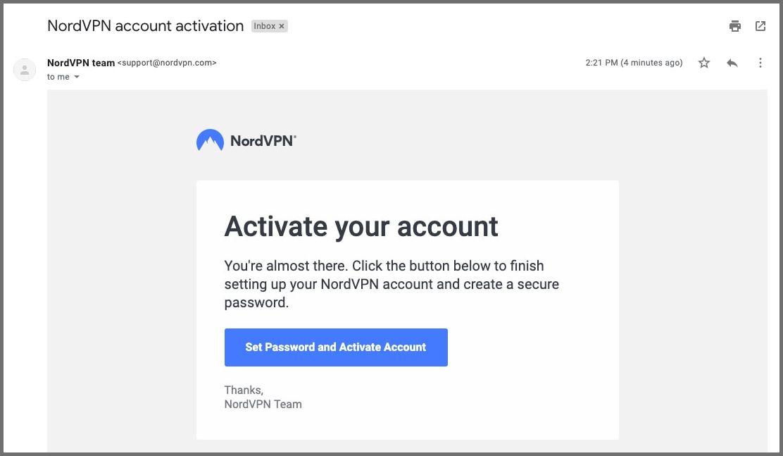 activer le compte nordvpn
