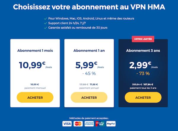 HideMyAss VPN prix d'abonnement